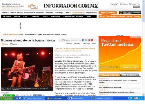 """Portada del diario """"Informador"""" de México que incluye la crónica sobre el último trabajo del periodista Toni Castarnado"""