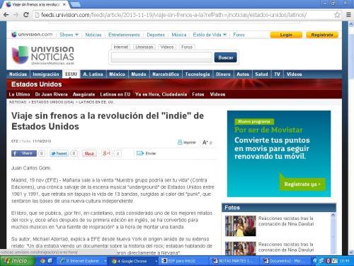 Portada de la web de Univisión que publica el relato sobre el indie rock americano